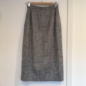 VTG Raw Silk Herringbone Pencil Skirt Vintage
